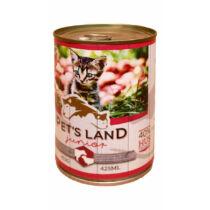 Pet's Land Cat Junior Konzerv Marhamáj-Bárányhús Almával 415g