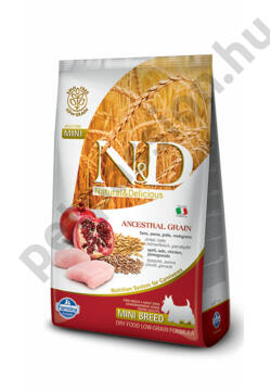 N&D Low Grain Csirke és Gránátalma Adult Mini 2,5 kg