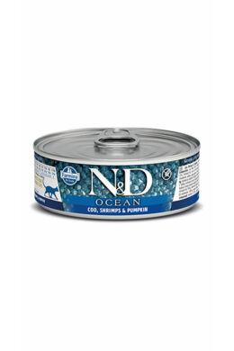 N&D Cat Ocean Tőkehal garnélával és sütőtökkel 80g