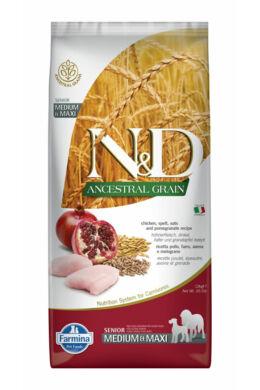N and D Low Grain Csirke és Gránátalma Senior Medium/Maxi 12 kg
