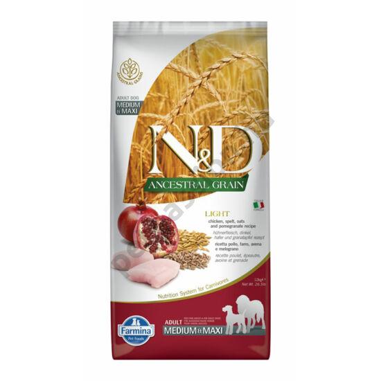 N and D Low Grain Csirke és Gránátalma Light Medium/Maxi 12 kg