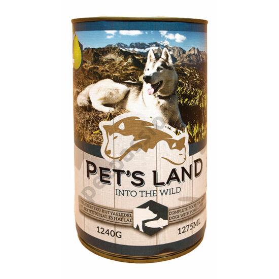 Pet's Land Dog Konzerv Sertés-Hal Körtével 1240g
