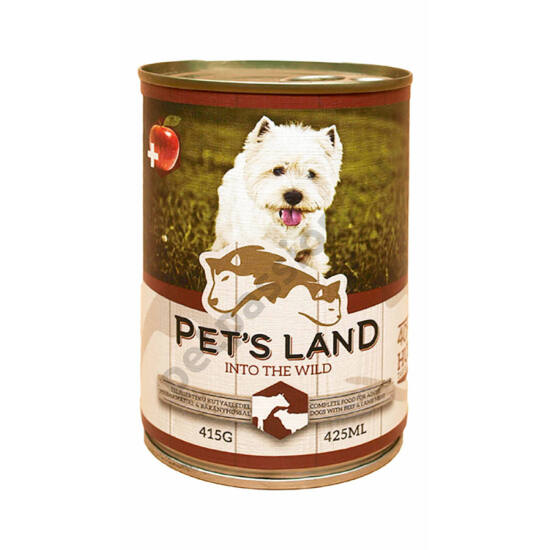 Pet's Land Dog Konzerv Marhamáj-Bárányhús Almával 415g