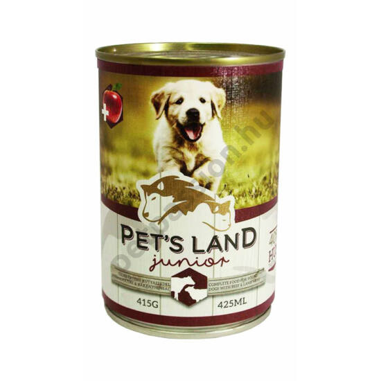 Pet's Land Dog Junior Konzerv Marhamáj-Bárányhús Almával 415g